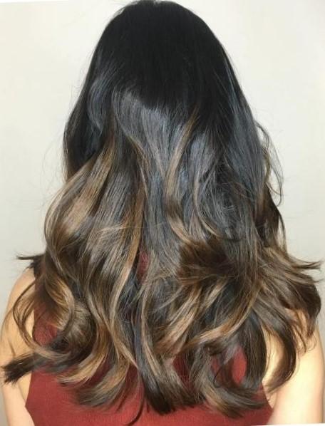 Окрашивание омбре на длинные волосы
