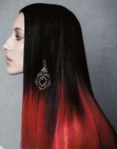 Окрашивание омбре на темные волосы с яркими цветовыми акцентами
