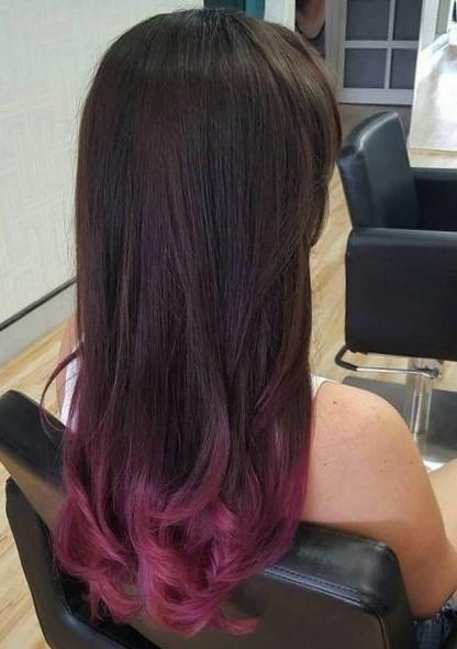 Яркое омбре на тёмные волосы