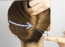 Прическа ракушка на средние волосы шаг 4
