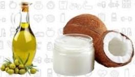 Кокосовое и оливковое масла для волос