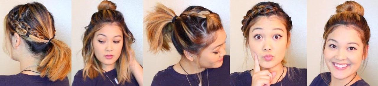 прически за 5 минут для средних волос фото