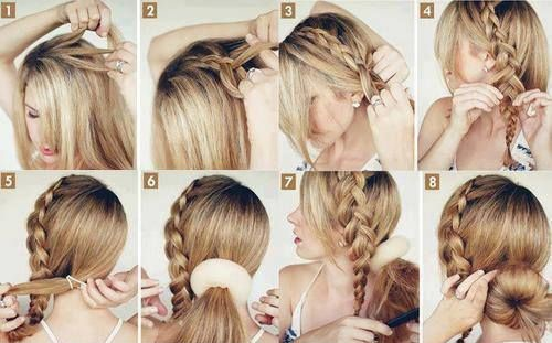 Причёски с бубликом на длинные волосы по шагам