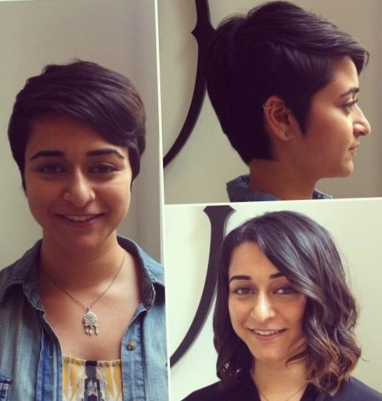 Наращивание волос на короткие волосы фото до и после