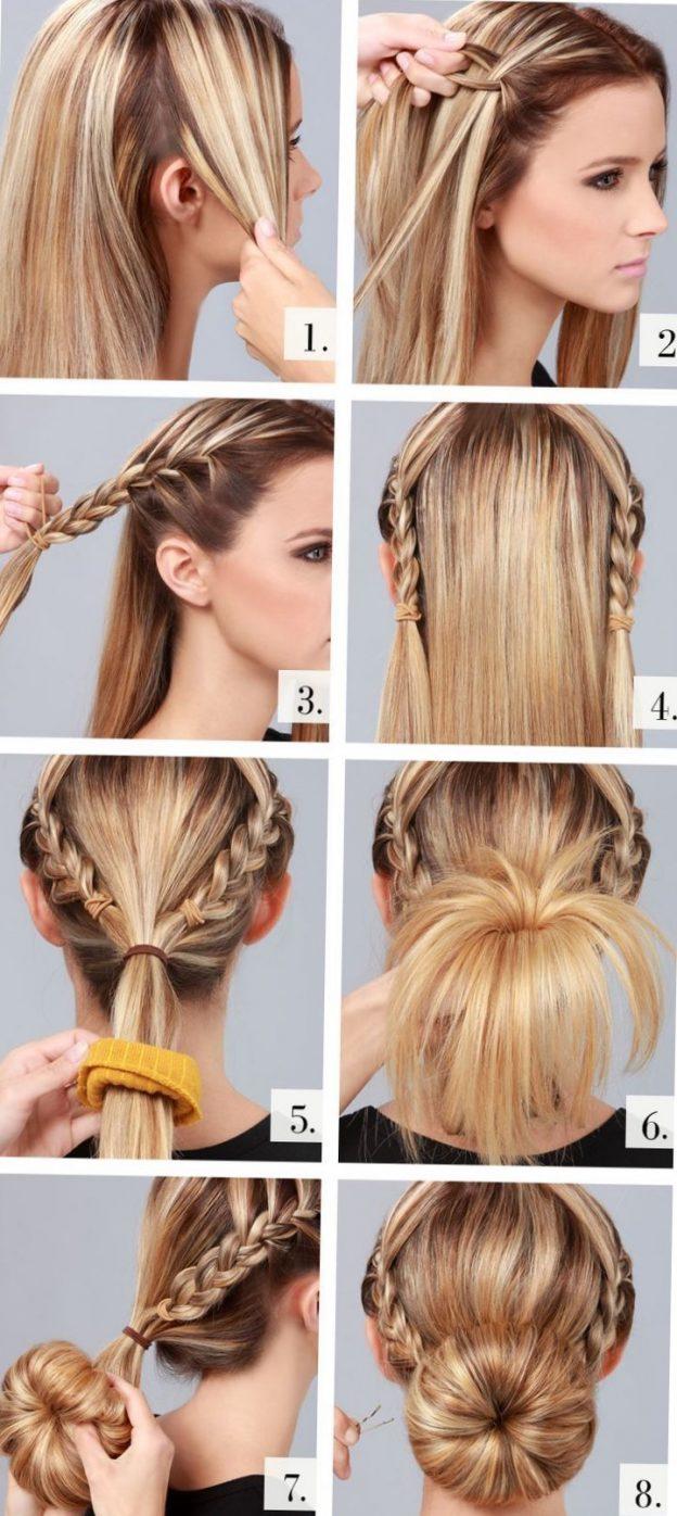 Как сделать причёску с бубликом на длинные волосы