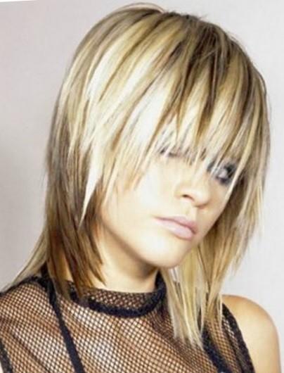 Каскадные стрижки на средние волосы с челкой