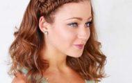 Делаем прически с косами на средние волосы