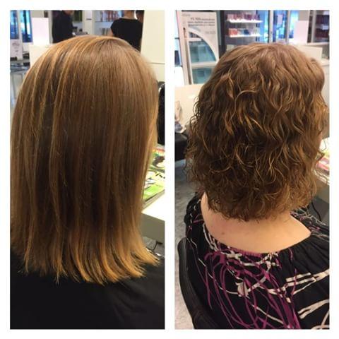 Химическая завивка на средние волосы - фото до и после