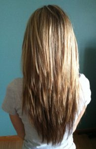 Градуированное стрижка на длинные волосы вид сзади