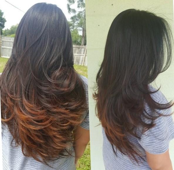 Градуированная стрижка на длинные волосы - вид сзади