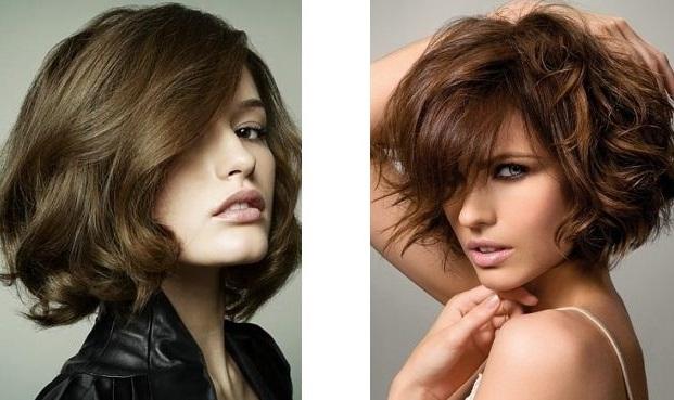 Стрижка на вьющиеся волосы средней длины каре