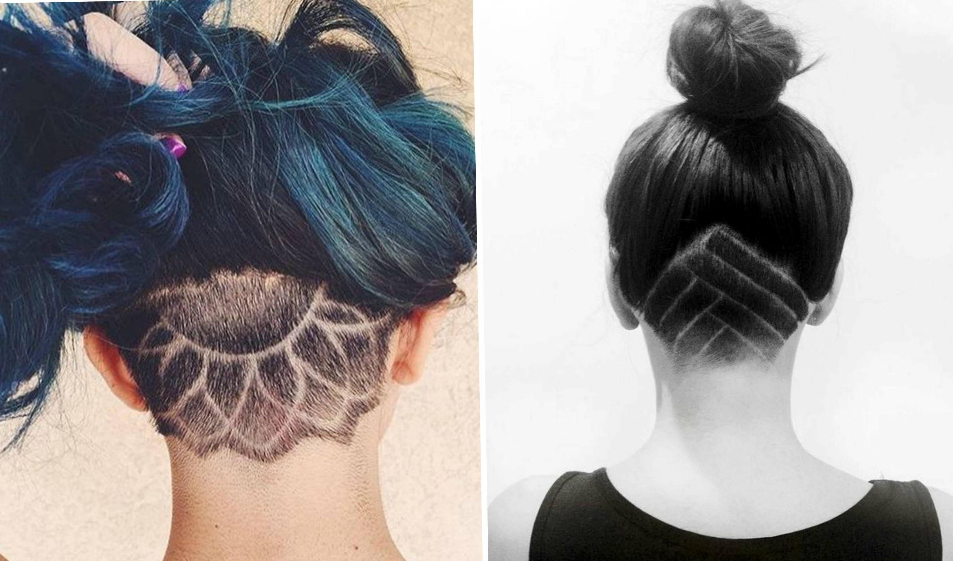 Креативные стрижки на длинные волосы  с выбритым затылком