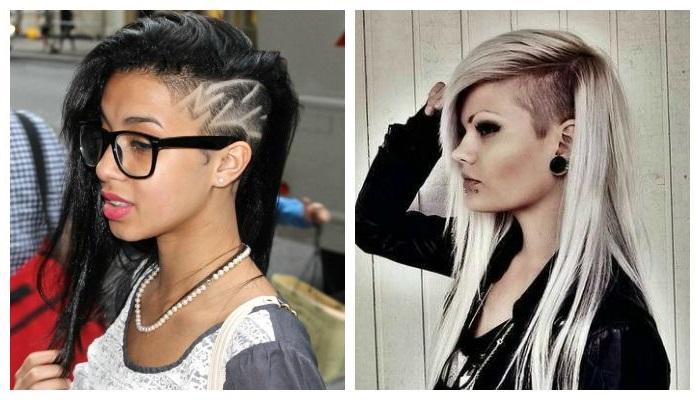 Креативные стрижки на длинные волосы  с выбритыми висками