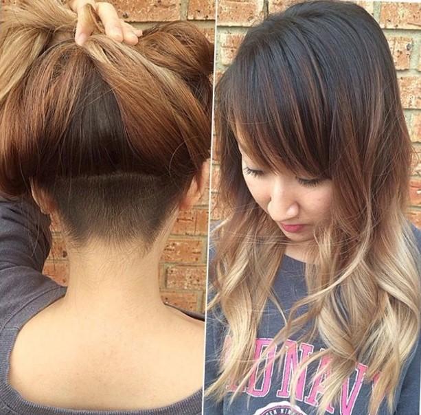 Женская стрижка на длинные волосы с выбритым затылком