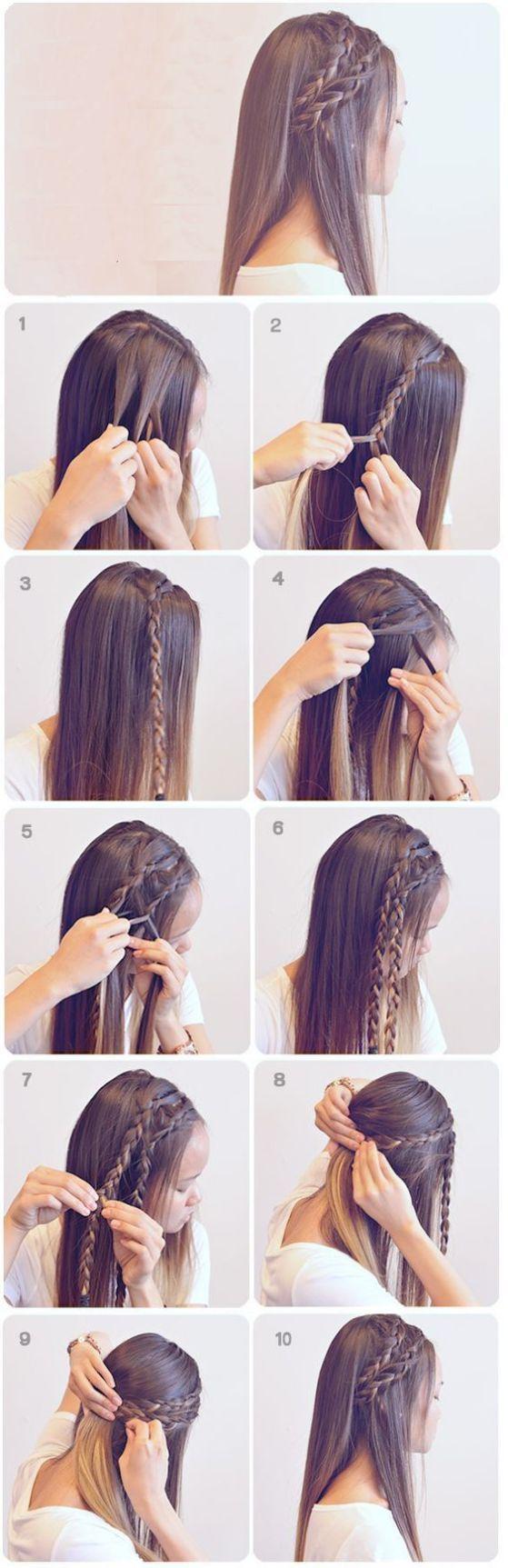 Прически для девочек на длинные волосы фото поэтапно в школу