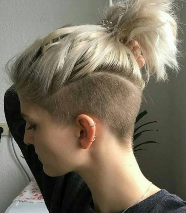 Женские стрижки с выбритым виском на средние волосы