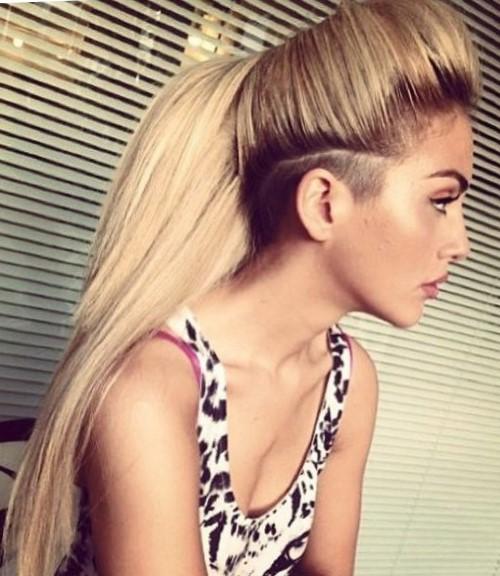Женские стрижки с выбритым виском на длинные волосы