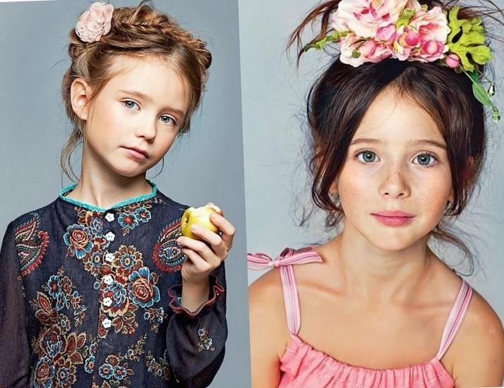 Прически с цветами для девочек