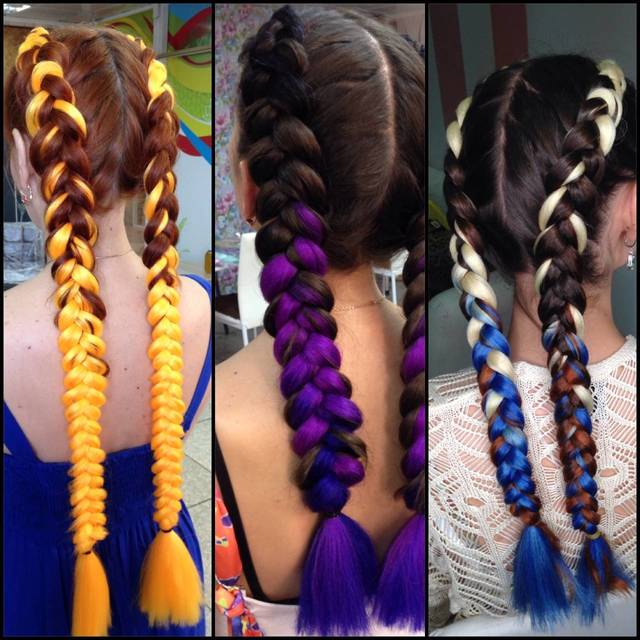 Плетение цветных кос москва