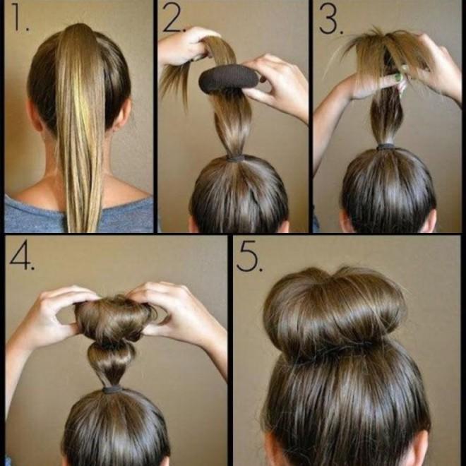 Как сделать красивый бублик на голове