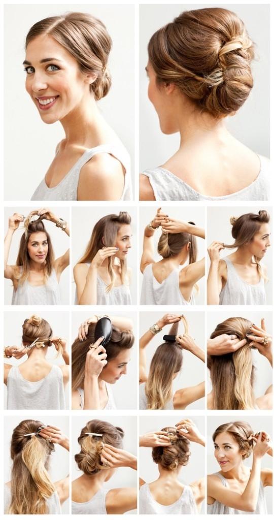 Прически высокий и низкий пучок на длинных волосах