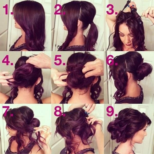 собранные прически на средние волосы
