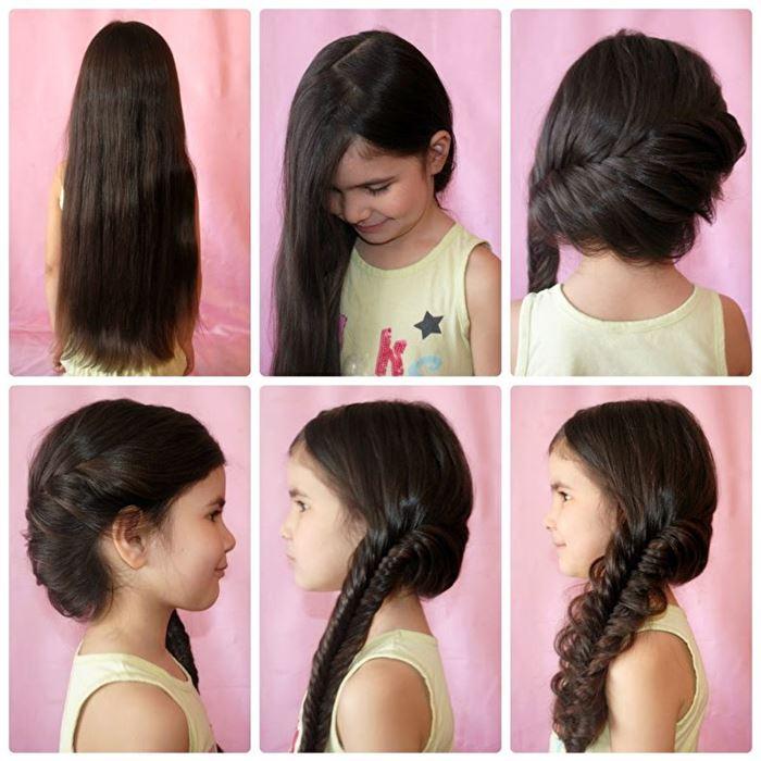 Прически на средние волосы фото для детей в школу