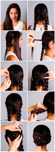 Как сделать пучок из двух кос
