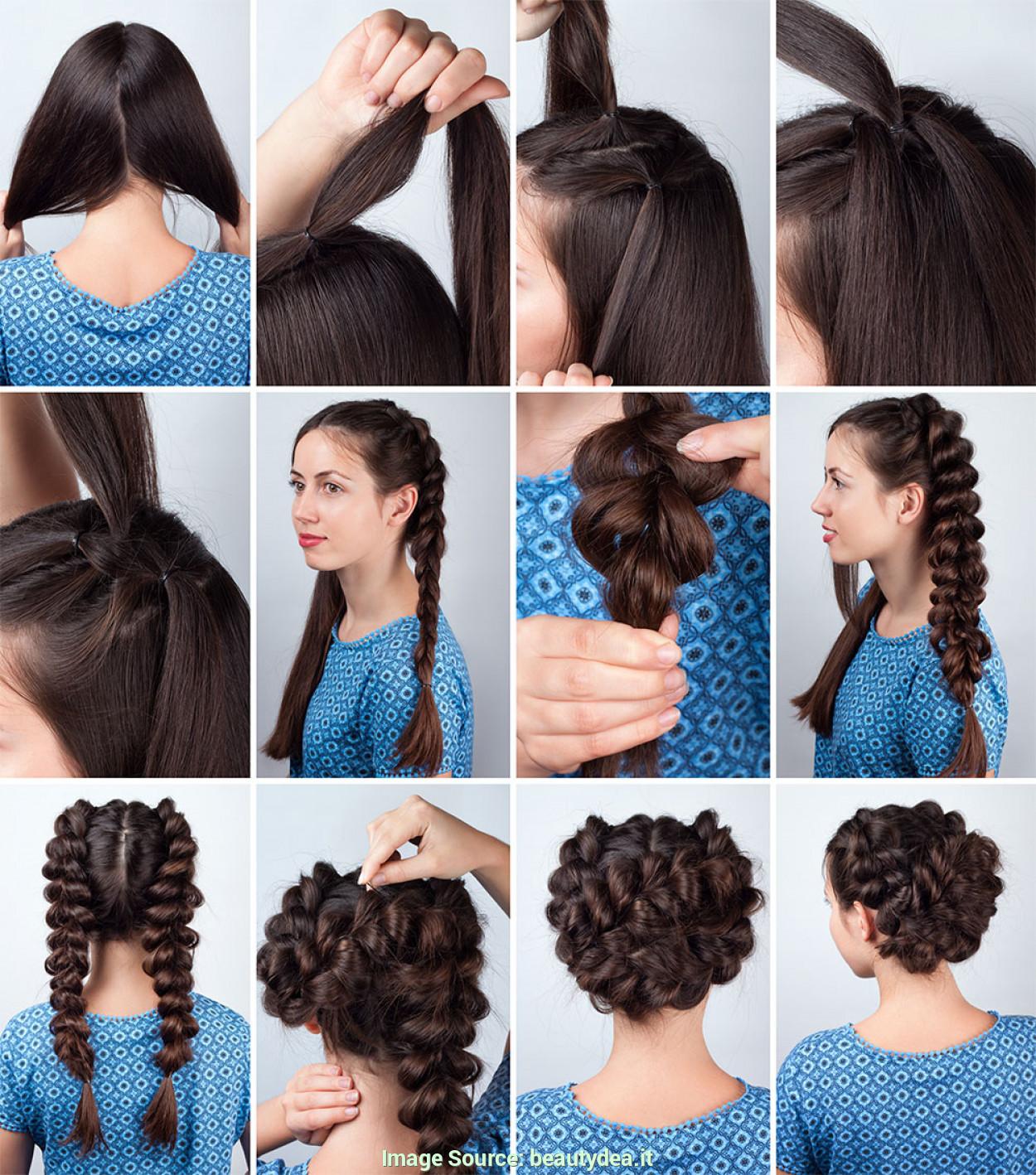 Прически с помощью резинок на средние волосы пошагово фото