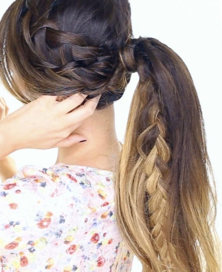 Прически из хвостиков на длинные волосы