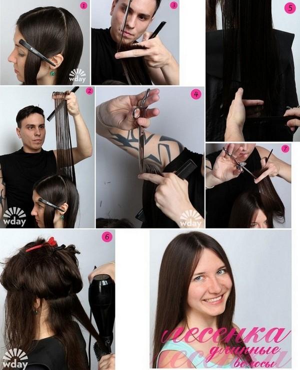 Стрижки лесенка для средних волос с челкой и без нее