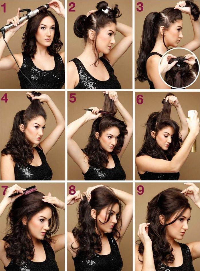 локоны на средние волосы фото пошагово