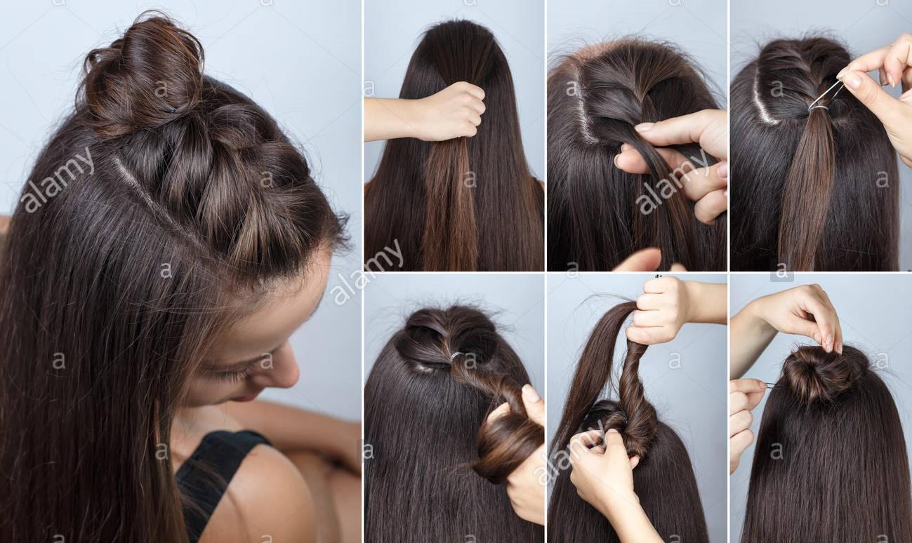 Причёски на средние распущенные волосы на каждый день своими руками фото 481